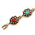 Vintage Inspired Turkish Style Crystal, Acrylic Bracelet In Aged Gold Tone (Green, Light Blue, Red) - 17cm L - view 4