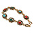 Vintage Inspired Turkish Style Crystal, Acrylic Bracelet In Aged Gold Tone (Green, Light Blue, Red) - 17cm L - view 6