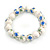 13mm Summery Light Blue/ Green Floral Pattern White Ceramic Bead Flex Bracelet - 17cm L