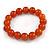12mm Burnt Orange Semiprecious Round Stone Bead Flex Bracelet - 17cm L