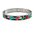 Multicoloured Floral Stainless Steel Magnetic Bangle Bracelet with Six Magnets - 18cm L