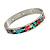 Multicoloured Floral Stainless Steel Magnetic Bangle Bracelet with Six Magnets - 18cm L - view 5