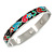 Multicoloured Floral Stainless Steel Magnetic Bangle Bracelet with Six Magnets - 18cm L - view 6