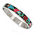 Multicoloured Floral Stainless Steel Magnetic Bangle Bracelet with Six Magnets - 18cm L - view 3