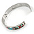 Multicoloured Floral Stainless Steel Magnetic Bangle Bracelet with Six Magnets - 18cm L - view 4