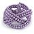 Purple Glass Bead Plaited Flex Cuff Bracelet - Adjustable