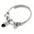 Fancy Charm (Elephant, Crystal Beads) Flex Twisted Cable Cuff Bracelet In Silver Tone Metal - Adjustable - 17cm L - view 4