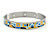 Yellow/ Blue Geometric Pattern Stainless Steel Magnetic Bangle Bracelet with Six Magnets - 18cm L