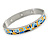 Yellow/ Blue Geometric Pattern Stainless Steel Magnetic Bangle Bracelet with Six Magnets - 18cm L - view 2
