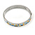 Yellow/ Blue Geometric Pattern Stainless Steel Magnetic Bangle Bracelet with Six Magnets - 18cm L - view 3