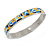 Yellow/ Blue Geometric Pattern Stainless Steel Magnetic Bangle Bracelet with Six Magnets - 18cm L - view 4