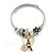 Fancy Charm (Heart, Flower, Crystal Rings, Eiffel Tower) Flex Twisted Cable Cuff Bracelet In Silver/ Gold Tone Metal - Adjustable - 17cm L