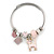 Fancy Charm ( Heart, Kitty, Butterfly, Crystal Beads) Flex Twisted Cable Cuff Bracelet In Silver Tone Metal (Pink) - Adjustable - 17cm L