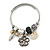 Fancy Charm (Heart, Flower, Glass Beads, Medallion) Flex Twisted Cable Cuff Bracelet In Silver Tone Metal - Adjustable - 17cm L