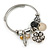 Fancy Charm (Heart, Flower, Glass Beads, Medallion) Flex Twisted Cable Cuff Bracelet In Silver Tone Metal - Adjustable - 17cm L - view 4