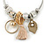 Fancy Charm (Tassel, Leaf, Crystal Bead) Flex Twisted Cable Cuff Bracelet In Silver Tone Metal - Adjustable - 17cm L - view 3