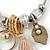 Fancy Charm (Tassel, Leaf, Crystal Bead) Flex Twisted Cable Cuff Bracelet In Silver Tone Metal - Adjustable - 17cm L - view 5