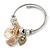 Fancy Charm (Tassel, Leaf, Crystal Bead) Flex Twisted Cable Cuff Bracelet In Silver Tone Metal - Adjustable - 17cm L - view 6