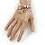 Fancy Charm (Tassel, Leaf, Crystal Bead) Flex Twisted Cable Cuff Bracelet In Silver Tone Metal - Adjustable - 17cm L - view 2