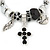 Fancy Charm (Heart, Leaf, Flower, Cross, Crystal Beads) Flex Twisted Cable Cuff Bracelet In Silver Tone Metal - Adjustable - 17cm L - view 4