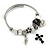 Fancy Charm (Heart, Leaf, Flower, Cross, Crystal Beads) Flex Twisted Cable Cuff Bracelet In Silver Tone Metal - Adjustable - 17cm L - view 6