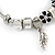 Fancy Charm (Heart, Leaf, Flower, Cross, Crystal Beads) Flex Twisted Cable Cuff Bracelet In Silver Tone Metal - Adjustable - 17cm L - view 7
