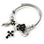 Fancy Charm (Heart, Leaf, Flower, Cross, Crystal Beads) Flex Twisted Cable Cuff Bracelet In Silver Tone Metal - Adjustable - 17cm L - view 8
