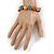 Multicoloured Ceramic Button Bead Stretch Bracelet - 17cm L - view 2