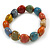 Multicoloured Ceramic Heart Bead Stretch Bracelet - 17cm L - view 2