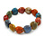 Multicoloured Ceramic Heart Bead Stretch Bracelet - 17cm L - view 3