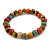 8mm Multicoloured Ceramic Round Bead Stretch Bracelet - 17cm L - view 4