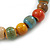 8mm Multicoloured Ceramic Round Bead Stretch Bracelet - 17cm L - view 5