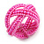 Pink Glass Bead Plaited Flex Cuff Bracelet - Adjustable