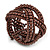 Wide Chocolate Brown Glass Bead Plaited Flex Cuff Bracelet - Adjustable