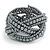 Wide Grey Glass Bead Plaited Flex Cuff Bracelet - Adjustable