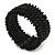 Trendy Black Glass Bead Flex Cuff Bracelet - Adjustable