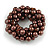 Solid Chunky Chocolate Brown Glass Bead, Sea Shell Nuggets Flex Bracelet - 18cm L