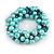 Solid Chunky Light Blue Glass Bead, Teal Sea Shell Nuggets Flex Bracelet - 18cm L