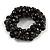 Solid Chunky Black Ceramic Bead, Sea Shell Nuggets Flex Bracelet - 18cm L