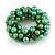 Solid Chunky Green Glass Bead, Sea Shell Nuggets Flex Bracelet - 18cm L