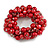 Solid Chunky Red Glass Bead, Sea Shell Nuggets Flex Bracelet - 18cm L