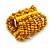 Wide Wooden Bead Flex Bracelet In Yellow - 19cm L - Adjustable - view 4