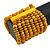Wide Wooden Bead Flex Bracelet In Yellow - 19cm L - Adjustable - view 3