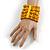 Wide Wooden Bead Flex Bracelet In Yellow - 19cm L - Adjustable - view 2