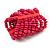 Wide Wooden Bead Flex Bracelet In Deep Pink - 19cm L - Adjustable - view 3