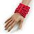 Wide Wooden Bead Flex Bracelet In Deep Pink - 19cm L - Adjustable - view 2