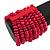 Wide Wooden Bead Flex Bracelet In Deep Pink - 19cm L - Adjustable - view 4
