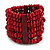 Wide Wooden Bead Flex Bracelet In Red - 19cm L - Adjustable