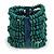 Wide Wooden Bead Flex Bracelet In Teal - 19cm L - Adjustable