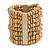 Wide Wooden Bead Flex Bracelet In Natural - 19cm L - Adjustable